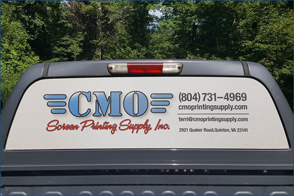 Terri's truck with her new CMO Printing Supply Inc. window screen!